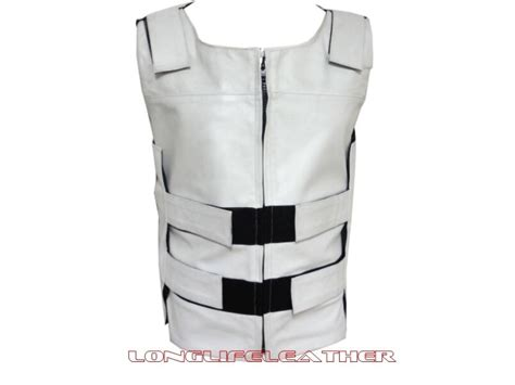 Men's White Bullet Proof Style Zipper Leather Motorcycle