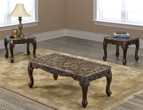 If2071  3pc Marble Coffee Table Set With 2 End Tables And