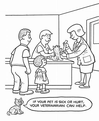 Coloring Pages Hospital Caring Pets Care Pet