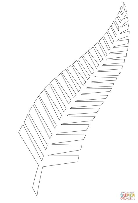 silver fern  symbol   zealand coloring page