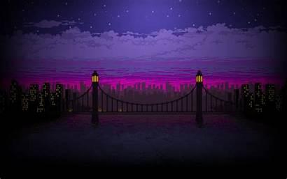 Pixel Night Bridge Wallpapers Wide Screen Artist