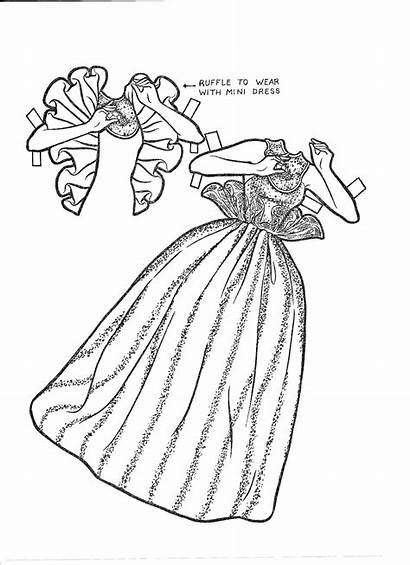 Barbie Paper Doll Coloring Dolls Pages Cut