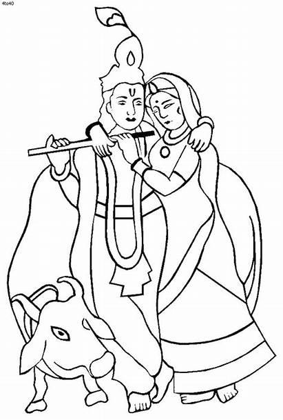 Krishna Coloring Pages Janmashtami Printable Shri Drawing