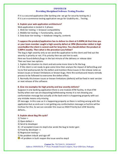 manual testing resume templates 100 sle manual testing resume