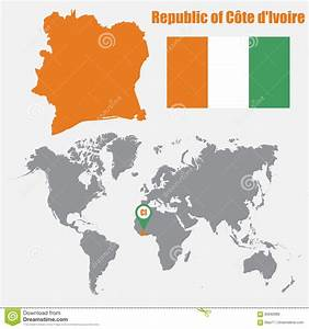 Cote Des Timbres Du Monde : carte de la c te d 39 ivoire sur une carte du monde avec l 39 indicateur de drapeau et de carte ~ Medecine-chirurgie-esthetiques.com Avis de Voitures