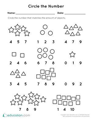 preschool math worksheets circle  number preschool