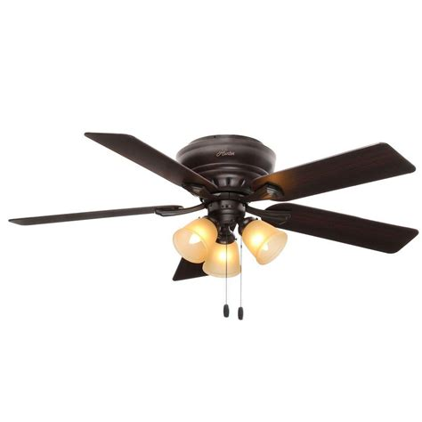 low profile ceiling fan with light hunter reinert 52 in indoor low profile premier bronze