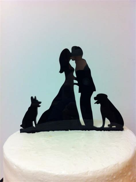 kissng couple  dogs silhouette wedding cake topper