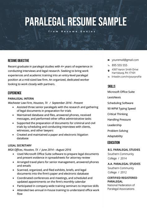 paralegal resume sample writing guide resume genius
