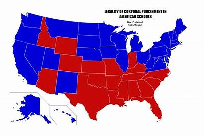 States Map United Usa Punishment Corporal Least