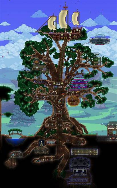 Minecraft Terraria Amazing Giant Base Treehouse Living