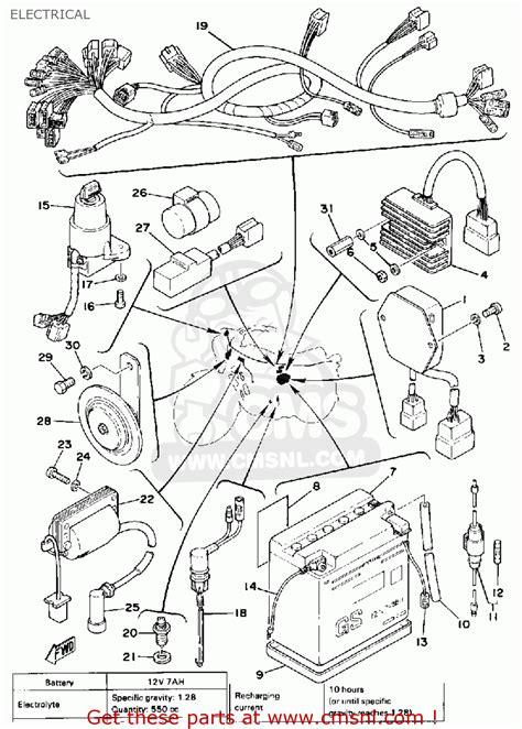 yamaha sr500 1978 usa electrical schematic partsfiche
