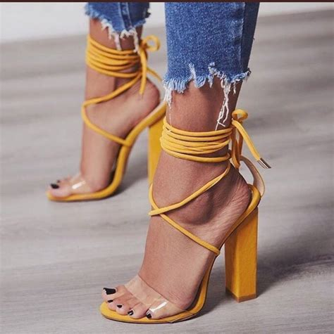 romper jacket shoes yellow mustard heels clear strappy see through
