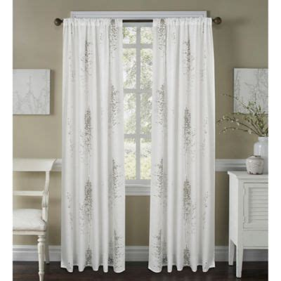 bed bath and beyond sheer linen curtains janette sheer window curtain panel in white grey