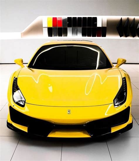 The ferrari 488 pista is presented during the 2018 geneva motor show. Yellow Ferrari 488 Pista 🖤 credit: @rossoautomobili Follow @evo_supercar @aventador_toppost ...