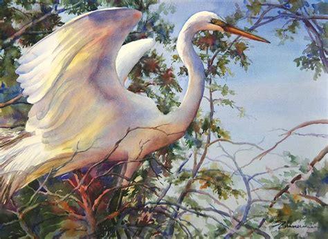 Great Egret White Bird Wading Bird Louisiana Watercolor