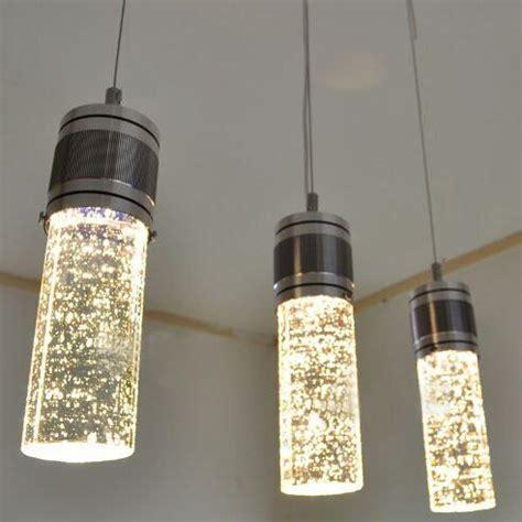 brushed nickel chandelier modern led column hanging l three ls