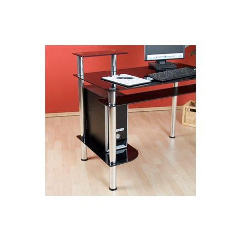 bureau informatique design en verre noir bureau ordinateur verre
