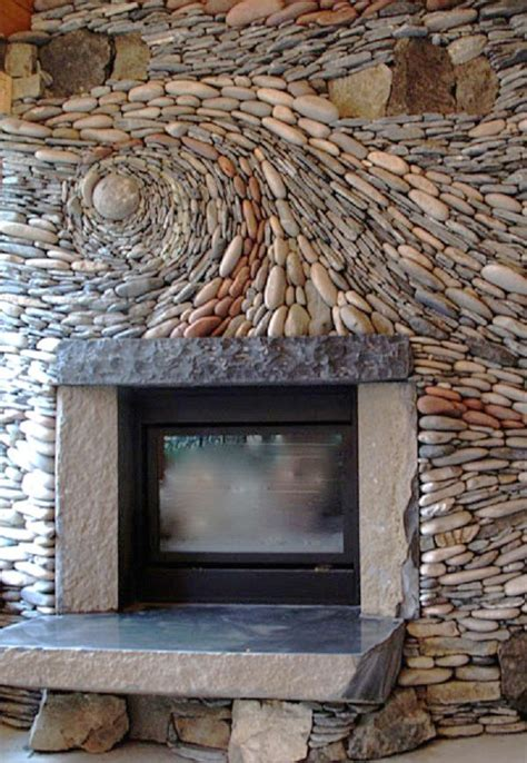 rock fireplace wall river rock tile river rock fireplace by ancient art of stone for the home garden