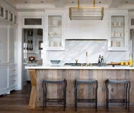 kitchen of the week distressed wood and brass an interior design - White Kitchen Wood Island