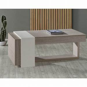 Table Basse Relevable Chne Clair 2 Tiroirs ESTEBAN