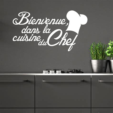 la cuisine du chef sticker citation cuisine bienvenue dans la cuisine du chef