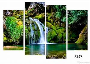 Online Cheap 4panel Nature Scenery Waterfall Trees