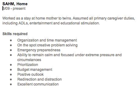 the gap in my resume from being a stay at home work