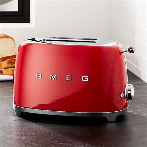 Smeg Red 2 Slice Retro Toaster   Crate and Barrel