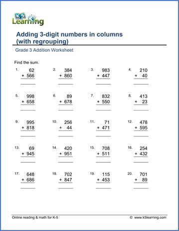 grade 3 math worksheet addition adding 3 digit numbers