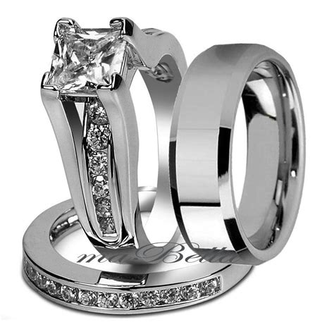 couple 3 pcs his tungsten bridal stainless steel engagement wedding ring ebay