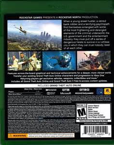 Grand Theft Auto 5 Xbox One Back Cover