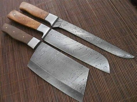 Custom Kitchen Knives For Sale by Custom Made Damascus Kitchen Knives Set Chef Knives