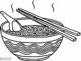 Noodles Bowl Vector Cartoon Sketch Drawn Background Illustration Vectors sketch template