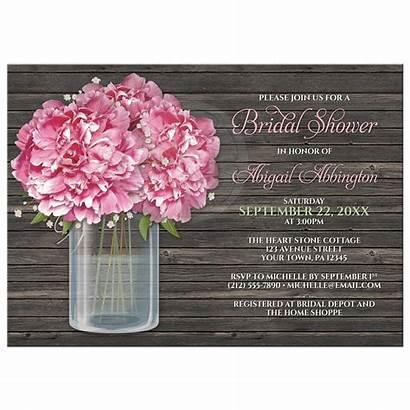 Shower Bridal Rustic Invitations Mason Peony Jar