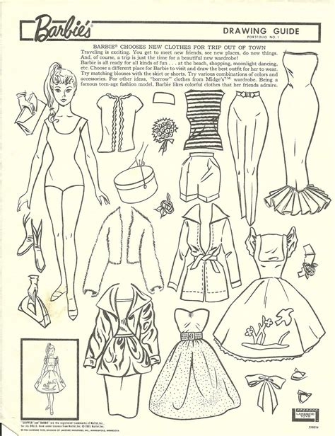 barbie chooses  clothes  trip   town drawing