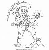 Coloring Miner Cartoon sketch template