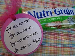 Cute tags to tie on a morning treat for teacher