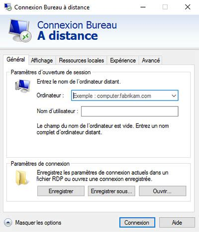url de connexion bureau a distance windows server ou