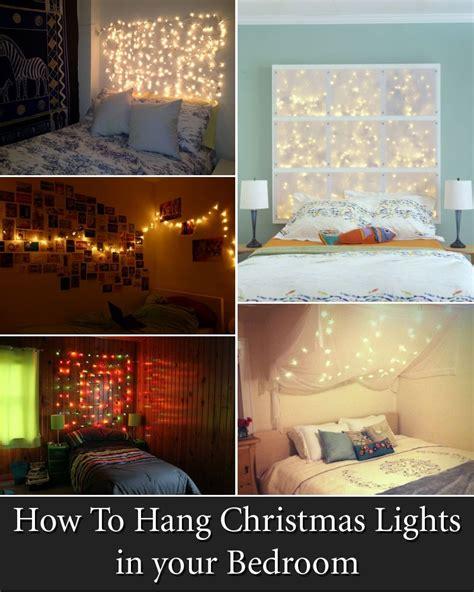 cool ways  put  christmas lights   bedroom