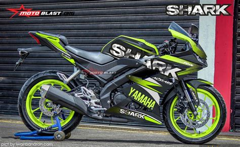 modifikasi striping all new yamaha r15 black shark green lime motoblast