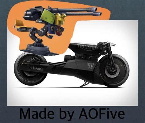 person futuristic motorcycle   turret