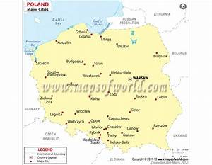 Buy Map of Poland with Major Cities