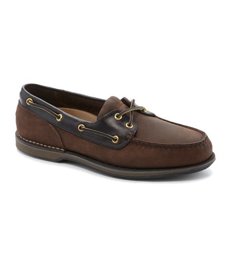 rockport perth casual boat shoes in brown for men lyst