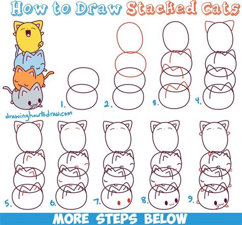 draw cute kawaii cats stacked  top