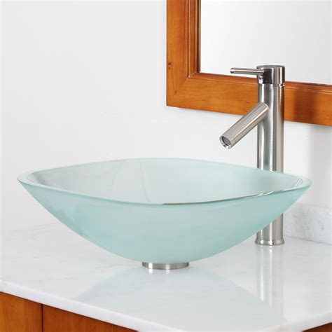 Tempered Glass Bathroom Sink by Gd04f Frosted Square Tempered Glass Bathroom Sink Bathroom