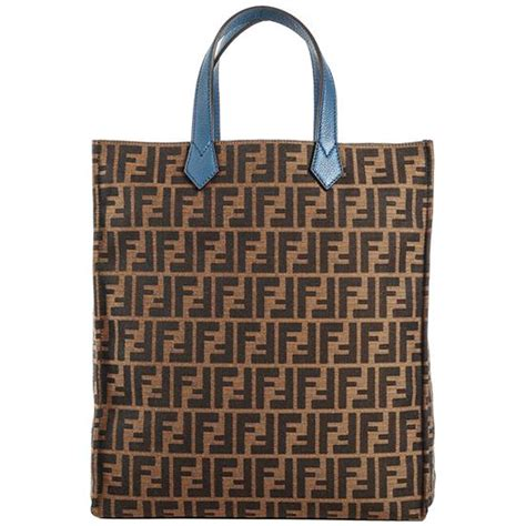 Authentic Fendi Fabric Leather Tote Bag - Brown at ...