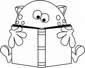 Black and White Monster Reading a Book Clip Art - Black ...