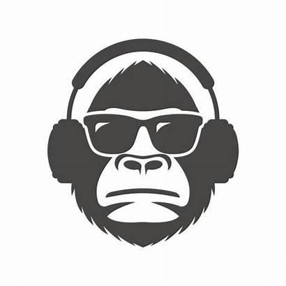 Monkey Headphones Sunglasses Gorilla Silhouette Affe Mascot