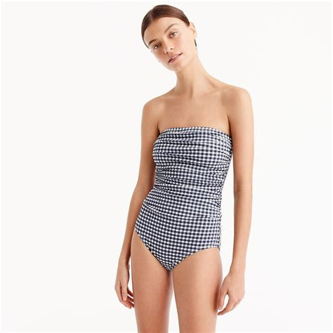 jcrew synthetic gingham ruched bandeau  piece swimsuit  navy ivory blue lyst